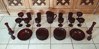 Lot Of 39 Vintage Avon 1876 Cape Cod Ruby Red Glassware Plates Pitcher Cup Bowls