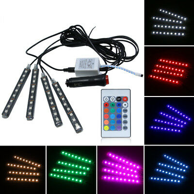4Pcs 9LED Car Interior Floor Neon Atmosphere Light Strip Remote Control Colorful