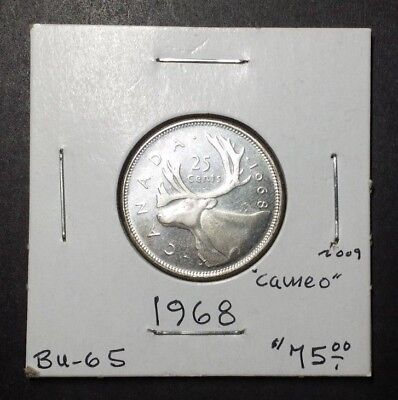 Canada Coin Collection - 1968 Silver Twenty-Five Cent (25C) Quarter Bu-65 Cameo