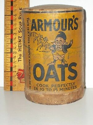 "Antique RARE 1910 ARMOUR'S OATS Round FREE SAMPLE Cereal BOX 4"" OATMEAL CARTON"