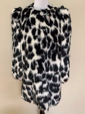 dfe490f839aa NWT Marc Jacobs Black White Leopard Print Faux Fur Brooch Jacket Coat Sz L  $1200