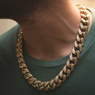 Diamond Miami Cuban Link Chain Choker Necklace 14k Yellow Gold Real Icy 18mm