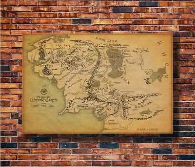 Art The Lord of the Rings Movie Map of Middle Earth 36in Poster - Hot Gift C2923