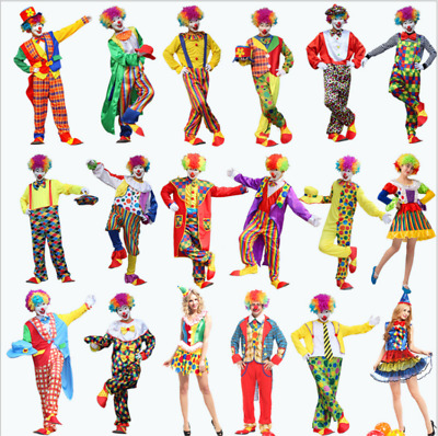 Adult Circus Clown Costume Multi-Color Fancy Dress Clothes Carnival Funny Props