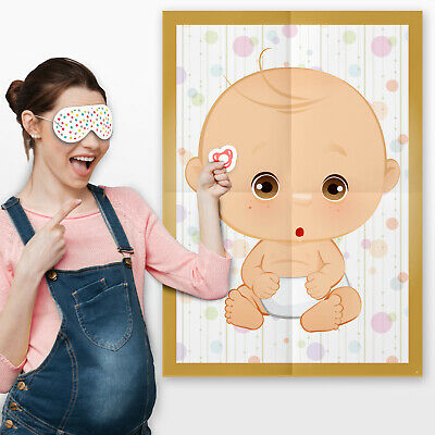Pin the Dummy on the Baby Game Baby Shower Party Games ~ Boy Girl Unisex #077