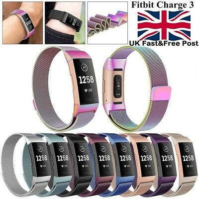 UK Replacement Milanese Metal Strap for Fitbit Charge 3 Secure Band Metal Buckle