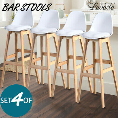 4x Beech Wood Bar Stool Wooden Barstool Dining Chairs Kitchen Counter White AU