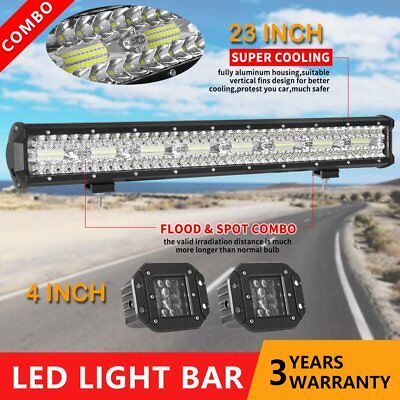 23inch &4in Led Work Light Bar Spot Flood CREE Offroad Driving Lamps 4WD Truck