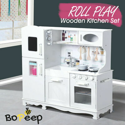 Kids Wooden Kitchen Pretend Play Set Cooking Toys Toddlers Home Cookware White