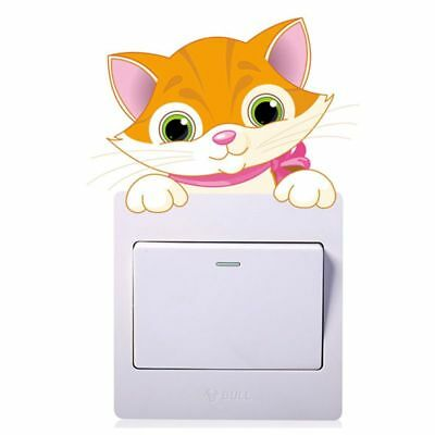 1X(Cute Animals Cat Light Switch Sticker Remoable Wall Sticker For Kids HomF9Y1)