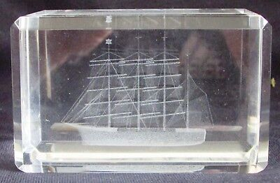 SAILING SHIP Laser 3D Etched Crystal Ornament Gift