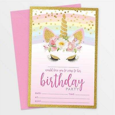 10 x Unicorn Birthday Party Invitations Invites ~ Girl Children Kids Pack #021