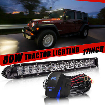 17inch 80W LED COMBO Light Bar Offroad Single Row For SUV JEEP Truck+ Wiring kit