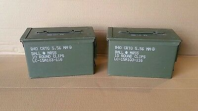 2- (1 PAIR) US Military SURPLUS 50 CAL M2A1 * M2A2 Ammo Cans Boxes .50 Caliber