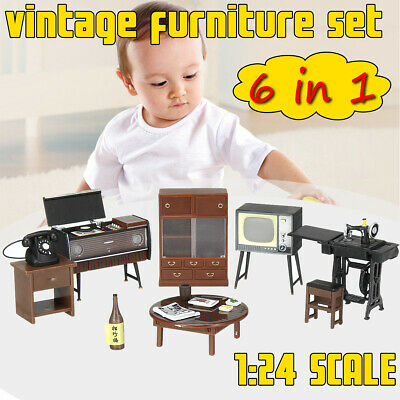 1:24 DIY Doll House Miniature Vintage Mini Furniture Set Kids Gift Home Decor
