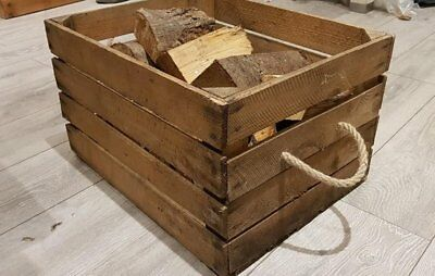 LOG BASKET / FIRE WOOD STORAGE -- FIREPLACE KINDLING BOX  Old Wooden Apple Crate