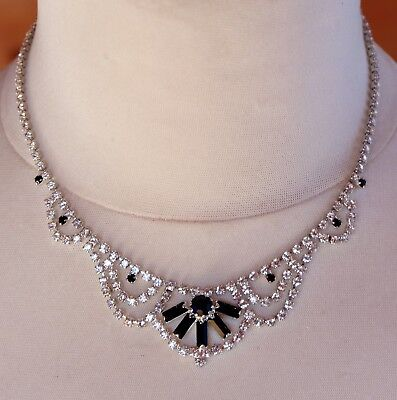Beautiful COLLINGWOOD Art Deco Style Black And Clear Glass Diamante Necklace
