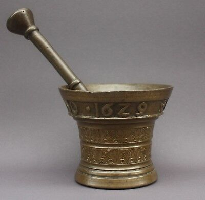 Renaissance Mörser 1629 VITVS ORTHS Niederlande Dutch Bronze Mortar orig. Pestle