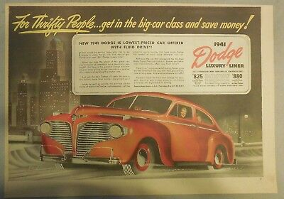 Dodge Car Ad: New Dodge Luxury Liner ! From 1941 Size: 11 x 15 Inches