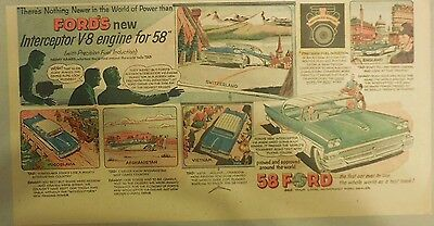 """Ford  Ad: """"Ford's Interceptor V-8 engine for 58""""  from 1958"""