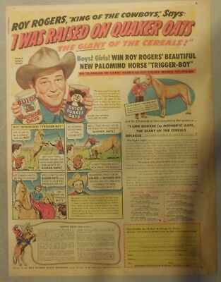 "Quaker Cereal Ad: ""Roy Rogers Pony Contest"" from 1950 Size: 11 x 15 inches"