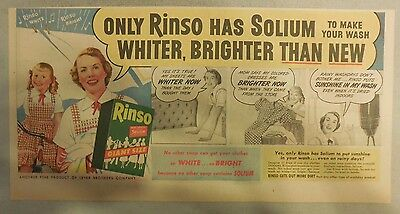 Rinso Soap Ad: Only Rinso has Solium Rinso Ad 1950's