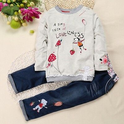Toddler Baby Girls Clothes Set Cartoon Print Tops Denim Jeans Pants Outfits New