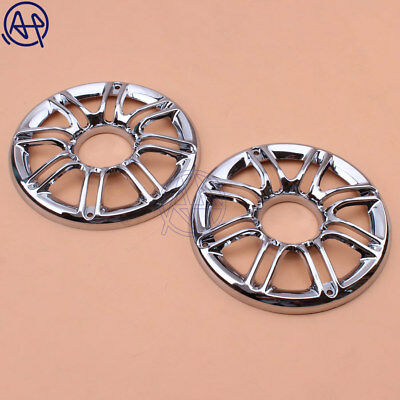 """2x Speaker Cover Grill 6/"""" 3D Round Rear Front For Harley Touring Glide 97-13 T1"""