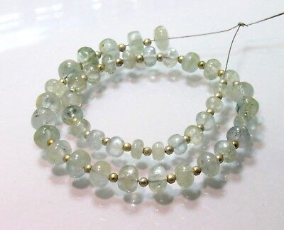 Aquamarine Smooth Beads Roundelle Shape 4x7mm length is 10' inch Natural Beads