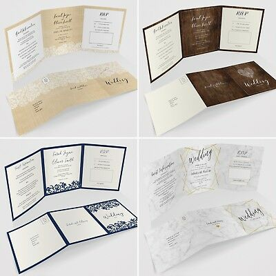 Personalised Tri-Fold Wedding Invitations Includes RSVP, Poem or Info Cards (G3)