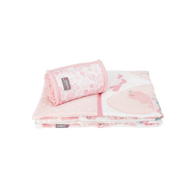 Comfi-Dreams Girls Pink Cot 2 Piece Bumper Bar & Quilt Bedding Set - Love Birds