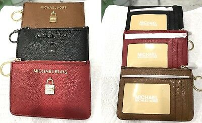 5e0c7526fc32 Michael Kors Adele S Pebbled Leather Zip ID Coin pouch Card Holder Key Ring   98
