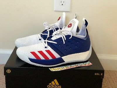 reputable site 16ccf 6d581 Adidas James Harden Vol 2 USA White Blue Red Mens sizes AQ0026