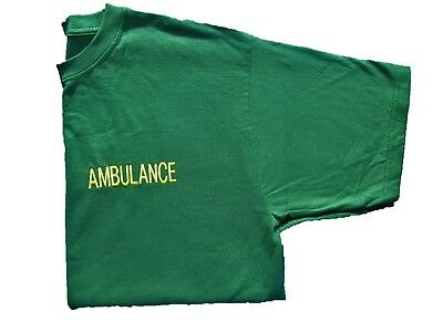 Bottle Green AMBULANCE Embroidered T Shirt Paramedic Medic First Responder