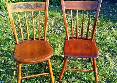 1800's Pair New England  Maple Windsor Chairs Painted Federal period