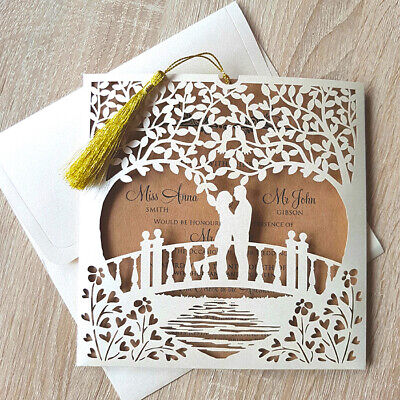 50 Eco Personalised Wedding Invitations Laces Laser Cut Free P*P FREE ENVELOPES