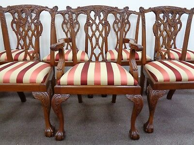 10 Carved Mahogany Chippendale Style Dining Chairs / Antique Style