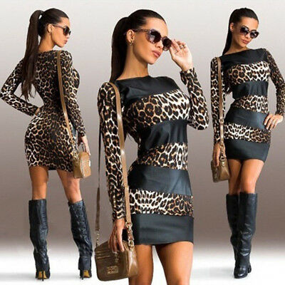 Womens Sexy Leopard Print Long Sleeve Leather Splice Short Mini Party Dress 9