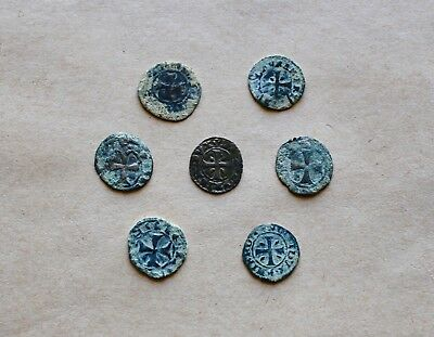 LOT OF 7 EARLY MEDIEVAL SILVER COINS TO BE CATALOGUED (13th-14th c.). VERY NICE!