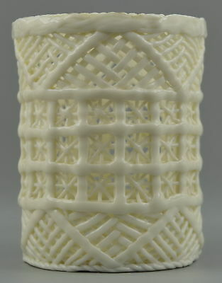 China Style Collect Old White Porcelain Carve Hollow Out Usable Rare Brush Pot