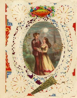 "Antique Victorian Paper Lace Romance Greeting Card ""affection"" 3"" X 4"""