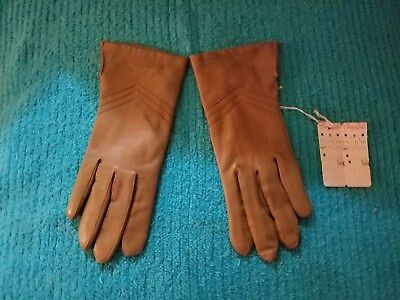 Vintage Cherry & Webb Tan Beige Leather Gloves Women's 7.5 New With Tags!
