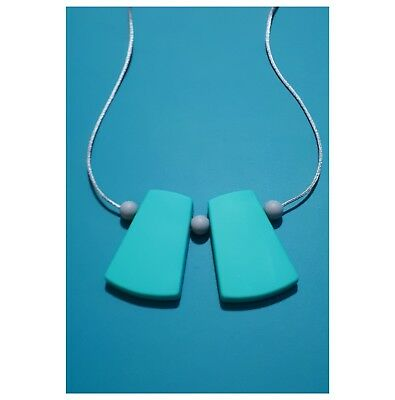 Modern Silicone Sensory (was Teething) Necklace Turquoise Grey Beads For Mum