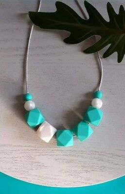 Silicone Sensory (was Teething) Necklace Turquoise White Pearl Beads Handmade