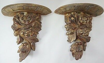 "Wall Sconce Shelves Pair Vintage Gold Leaf & Fruit Design 13"" H x 13.5 W"