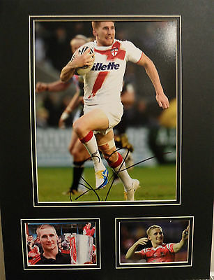 SAM TOMKINS Signed 16X12 Photo Display WIGAN WARRIORS & ENGLAND Rugby League COA