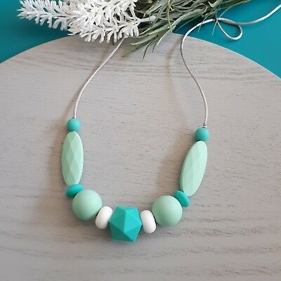 Silicone Sensory (was Teething) Necklace Turquoise Mint White Beads Gift For Mum