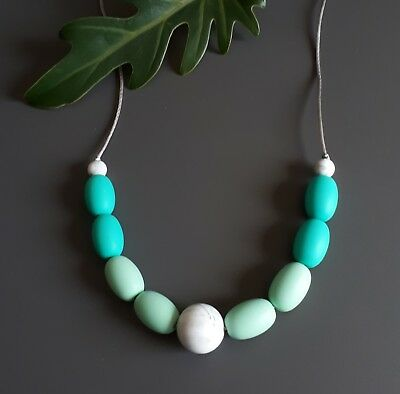 Silicone Sensory (was Teething) Necklace Mint Turquoise White Beads Gift For Mum