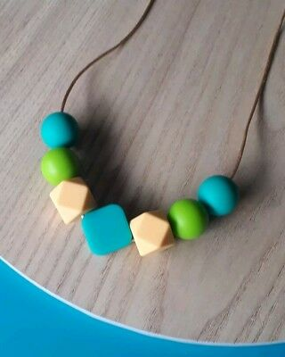 Silicone Sensory Necklace (was Teething) Turquoise Green Beads Gift For Mum