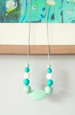 Silicone Sensory (Was Teething) Necklace Mint Turquoise White Beads For Mum